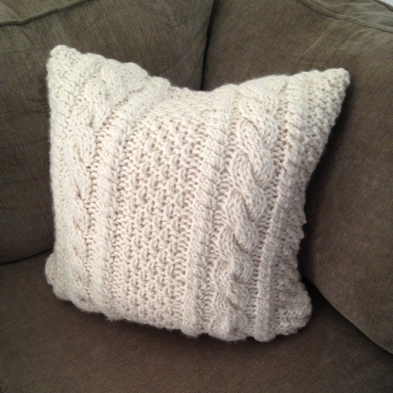 Knitting Pattern For Chunky Cushion Cover : Chunky Cable Knit Pillow Cover