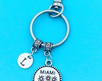 Miami Keychain, Miami Key Chains, Custom Any Charm, Miami Keyring, Personalized Keychain, Miami Key Rings, Charm Keychain, Miami Pendant