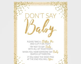 Gold Dont Say Baby Game - Baby Shower Games - Any Color - Gold Baby Shower - 8X10 - Amanda