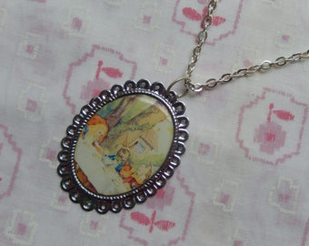 Alice In Wonderland Mad Hatter's Tea Party Cameo Necklace
