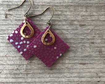 Purple Teardrop Leather Earrings - Leather Earrings-Boho Earrings-Leather Drop Earrings-Leather Dangle Earrings-Gift for Her-Clemson jewelry