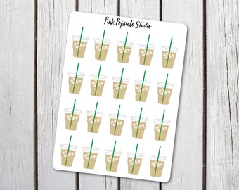 Iced Coffee Frappuccino Planner Stickers Designed For Erin Condren Life Planner Vertical