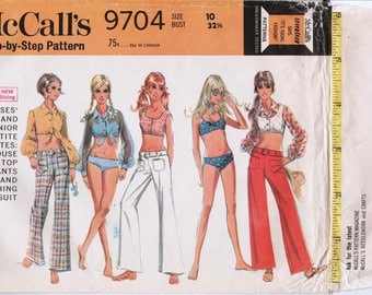 "1960s Bikini Pattern Midriff Shirt Hip Huggers McCALLS 9704 bust 32.5"" Daisy Duke Shirt Vintage Bikini 2 Piece Swimsuit Pattern Beach Wear"
