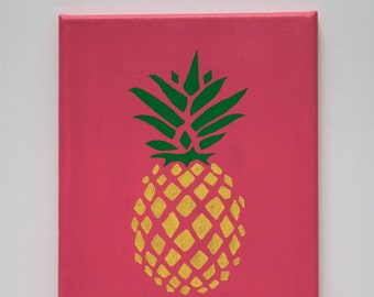 Pineapple Canvas (pink background)