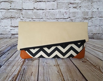Suede/Canvas/Leather Foldover Clutch, READY TO SHIP