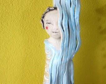 The Girl of Water - the daughter of water - white ceramic Sculpture, Keramik stoneware Sculpture