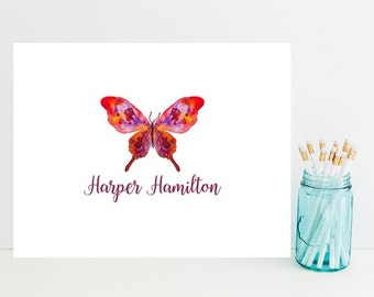Watercolor Butterfly Stationery - Custom Stationery,Personalized Stationary, Personalized Stationery, Butterfly Stationary
