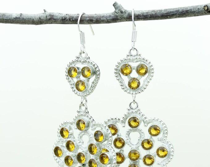 Citrine 925 SOLID (Nickel Free) Sterling Silver Italian Made Dangle Earrings e671