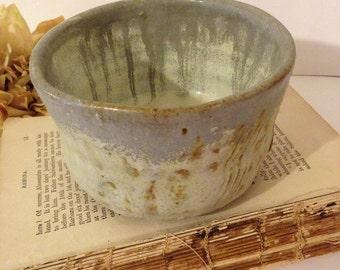Primitive Grey Stoneware Pottery Bowl~ Small Decorative Bowl, Brown and Grey, Rustic Bowl, Dip Bowl, Condiment Bowl, Primitive Home Decor