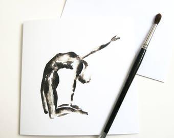 Yoga Card   Yoga Stationary   Blank Greeting Card   Yoga Pose   Black and White   Square
