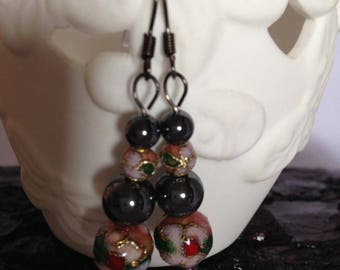 Pink Cloisonné and Hematite beaded earrings (FREE postage in AUS)
