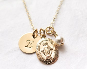 Miraculous Medal, First Communion Gift, Virgin Mary Necklace, Personalized, Communion Necklace, Gift For Girl, Catholic Jewelry, Gold Filled