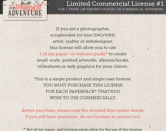 Limited Commercial Use License For Photographers, Scrapbookers For Hire (S4O/S4H), Artists, Crafters or Web Designers For 1 Paper Pack