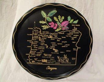 Vintage Oregon State Tin Platter serving decorative tray
