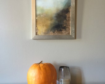 "Gold Leaf Print Abstract Print Neutral Autumn Art Giclee - ""Aerial Storm"" - Custom Size"