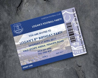 Everton Football invitations - kids party - personalised - Free P&P