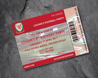 WALES -  Football invitations - kids party - personalised - Free P&P