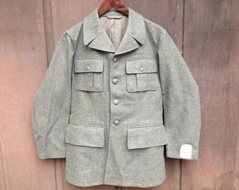 Vintage 1950's Swedish Military Gray Wool Jacket Coat / *Deadstock* / Size Men's Small - see measurements