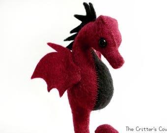 Burgundy / Black Seahorse - Felt Dragon Seahorse Plush