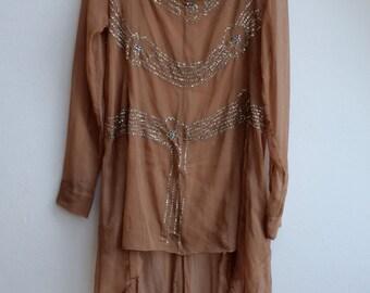 sequin embroidery dress fairy goddess bohemian wedding 20s' 30s' art nouveau look