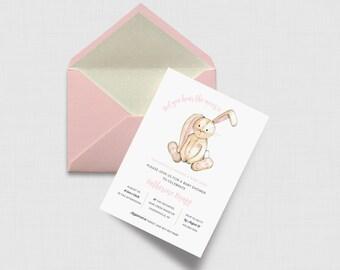 "Baby Bunny Shower 5"" x 7"" Invitation - Digital or Printed"