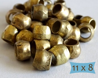 Rustic Large Hole Handmade Brass Beads--10 Pcs | DBR5011-10