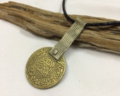 Antique!! Moroccan Berber Gold Coin, Silver Necklace w Camel Leather Tie | 1320 Islamic Calendar (=1902) | Ethnic Jewelry | Travel Finds