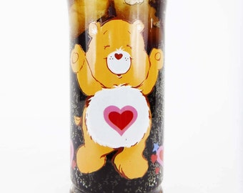 Glass/Tumbler/Collector Drink Glass/Care Bears/Collectible/Tenderheart Bear/Pizza Hut/Limited Edition/80's/1983/Heart/Vintage