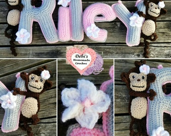 Monkey Name Banner, Made-to-Order Crochet