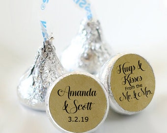 108 Names and Date Hershey Kiss® Stickers - Hershey Kiss Stickers Wedding - Hershey Kiss Labels - Hershey Kiss Seals - Kraft Brown Stickers