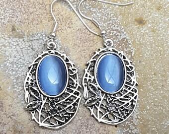Blue Dangle Drop  Earrings,  Blue Jewelry, Nickel Free Earrings, Silver Filigree Earrings, Australian Made, Gift for Her, Ladies Gift