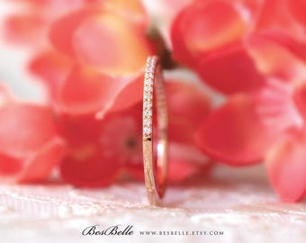 1.2mm Half Thin & Delicate Eternity Ring-0.27 ct.tw Brilliant Cut Micro Pave Set-Stackable Ring-Rose Gold Plated-Sterling Silver [0954RGH]