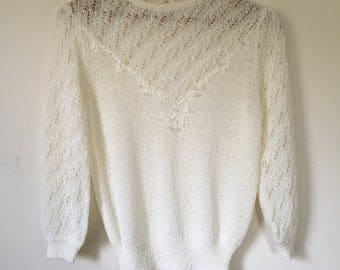 Vintage Women's Cream Ivory Pointelle Crew Neck Sweater with Beading Small S