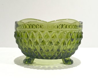 Olive Green Glass Candy Dish