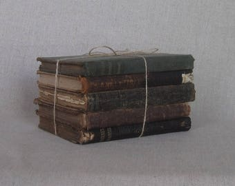 1800's Shabby Book Bundle, Leather Spines, Rustic Book Set