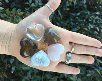 Heart Shaped Carved Rock Crystal Stone set of 5