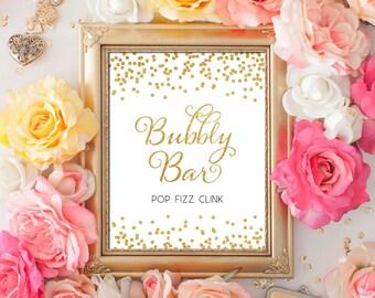 Printable Wedding sign Bubbly Bar 8x10 Gold Glitter Confetti Bar Sign DIY Wedding champagne sign Printable Digital INSTANT DOWNLOAD 300dpi