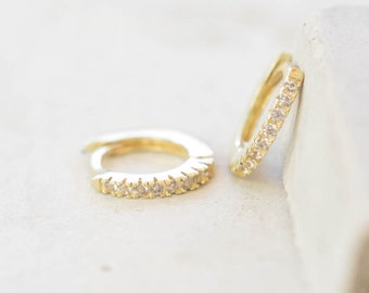 Thin Mini Ear Huggie Hoop Earrings, GOLD - micro pave cz cartilage hoops