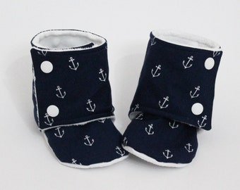 Baby slippers, Stay-on booties, Anchors, Nautical, Minky and cotton, Toddler boots, Kid shoes, Warm and Cozy, Shower gift, Newborn child