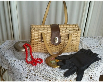 Rockabilly Style Bag 50s 60s Woven Straw Like Handbag Vintage Fashion Accessories Spring - Summer Bag