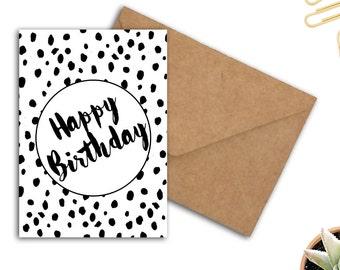 Typography Birthday Card - Happy Birthday Card For Him / Her - Black & White - DIY Birthday Card - Gender Neutral Card - Printable PDF