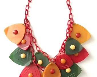 Vintage Bakelite Plastic Novelty Necklace Celluloid Chain