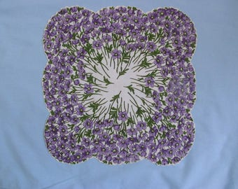 Linen Handkerchief with Hundreds of Purple Violets, Scalloped Edge
