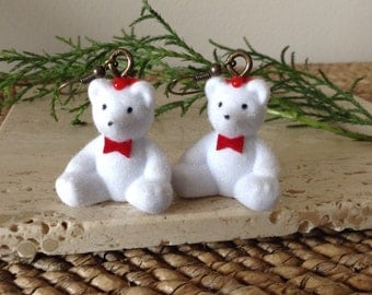 Perfect Creepy bloody White Teddy Bear earrings. Everyone should have a pair in their collection. Earrings can be used as hanging ornaments.