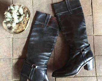 Ottorino Bossi Italian Designer Vintage Black leather riding boots//Designer motorcycle cowboy western//Size 10 men 11.5 Women