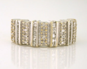 Wide Diamond Band 1.00tcw Baguette and Round Diamonds Size 7, 10k gold - DIAR10068