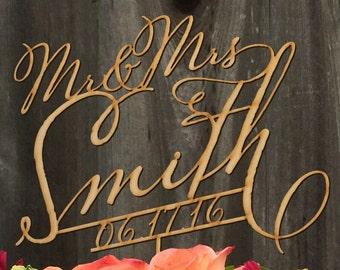 Mr & Mrs Custom Cake Topper with Date,  Rustic Wedding Cake Topper, Custom Cake Topper, Personalized Quality wedding cake topper