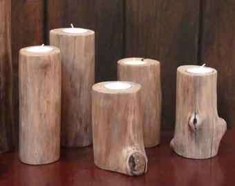 Natural Log Candle Holder, Barkless Log Candleholder, Log Tea Light Candleholder, Rustic Log Tea Light Candleholder, Natural Log Tea Lights