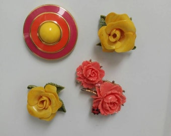 Vintage Magnet Set | 4 Pink & Yellow Magnets | Roses | Upcycled Jewelry | Costume Jewelry Vintage | Fridge Magnets | Custom Magnets