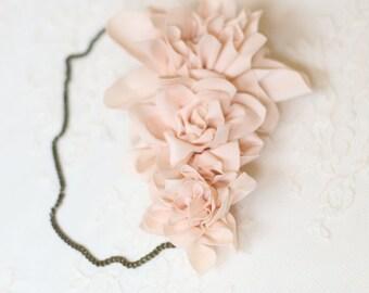 Model amber - Rose wreath hair accessory - nude. Bohemian wedding